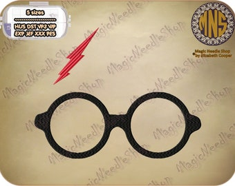 Harry Potter Glasses and Scar embroidery design. Harry Potter Machine Embroidery Design. Instant download. #002-1
