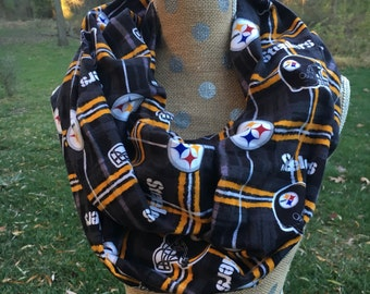 Pittsburg Steelers Plaid Flannel NFL Football GameDay Infinity Scarf 8x70 Double Loop Free Shipping