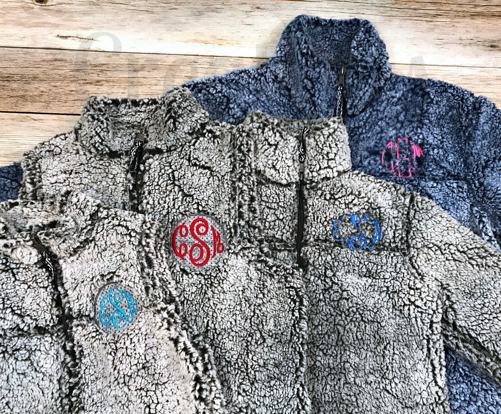 womens monogrammed fleece coat  monogrammed pullover  fleece sherpa coat  personalized fleece