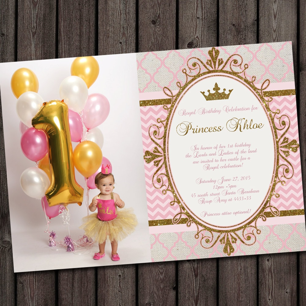 first birthday pink and gold royal princess party invitation