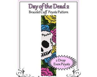 Bead Pattern Peyote(Bracelet Cuff)-Day of the Dead 2