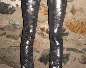 Silver Spotted Legging Pants Xsmall By Vicmes Clothing