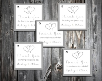 100 Hearts Favor Tags.  Wedding favors