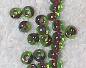 RARE Vintage Japanese Givre Brown/Green Glass Beads