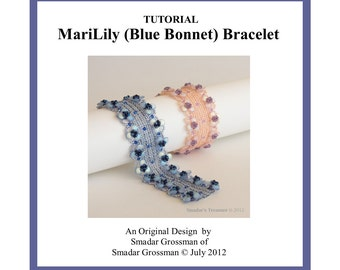 Beading Tutorial, MariLily (Blue Bonnet) Bracelet. Beading Pattern with Lentil and Crystal Beads. Instant Download PDF File, Beadwork
