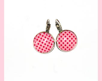Small pink earrings Fuchsia dots