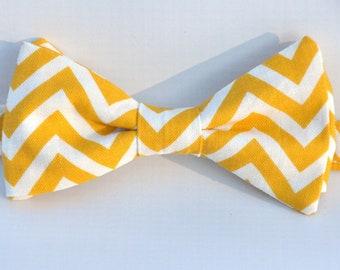 Boy's Bow Tie Yellow and White Chevron Bowtie