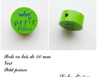 20 mm wooden bead, Pearl flat, little prince: Green / Navy Blue