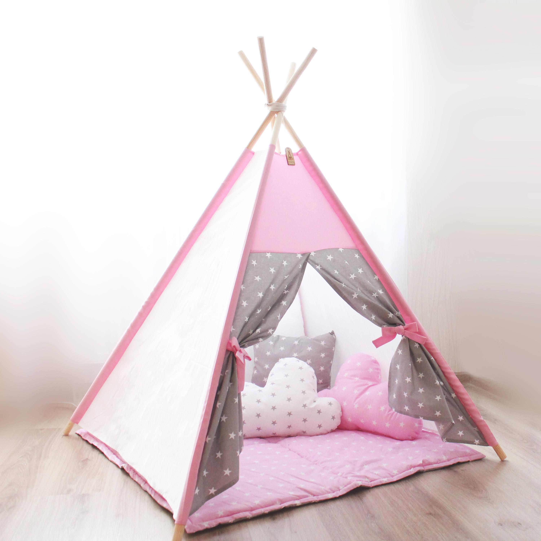 Kinderzimmerdekor Tipi Kinder Tipi-Zelt-rosa grau