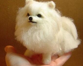 Custom dog Pomeranian puppy  soft Sculpture needle felted art