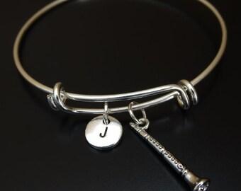 Clarinet Bangle Bracelet, Adjustable Expandable Bangle Bracelet, Clarinet Jewelry, Clarinet Charm, Clarinet Pendant, Instrument Bracelet
