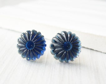 Navy Blue Studs - Indigo Post Earrings, Nickel Free Titanium Jewelry, Glass, Flower