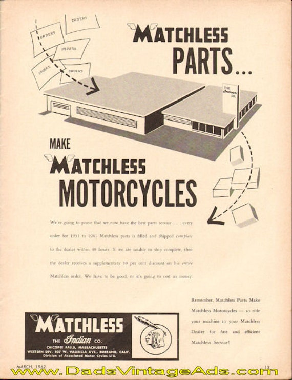 1962 Matchless Parts make Matchless Motorcycles Ad #t62ca08