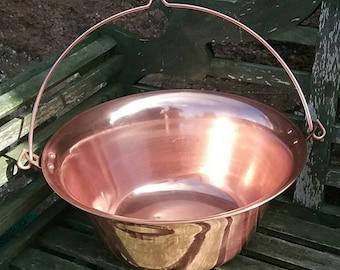 Hanging copper cauldron - Pot preserve - jam pan - French cookware - Kitchen bowl - Vintage bakeware - Villedieu - Handmade - stockpot craft