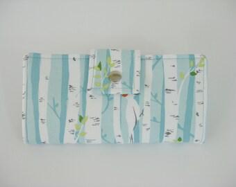 Ladies Wallet, Blue Wallet, Handmade Clutch, Credit Card Wallet, Gift For Woman, Checkbook Wallet, BiFold Clutch,