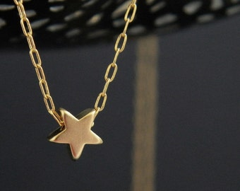 Star Necklace, Gold Star Necklace, Dainty Star Necklace, Tiny Gold Star Necklace, Mini Gold Star, Bridesmaids Gift, Layering Necklace