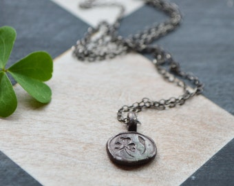 Nature Inspired Sterling Silver Botanical Necklace, Wood Sorrel Botanical Jewelry, Necklace, Gold, Flower Charm, St Patricks Day Peg and Awl