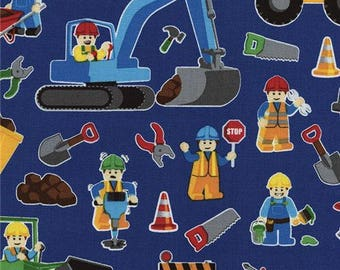 203520 dark blue construction worker tools fabric by Timeless Treasures