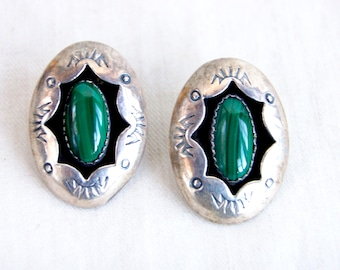 Southwestern Malachite Earrings Sterling Silver Shadow Box Posts Vintage Oval Pierced Posts Shadowbox Studs