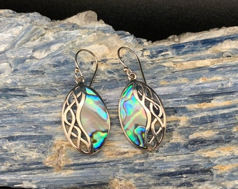 Abalone Shell Earrings // 925 Sterling Silver // Oval Bali Setting // Abalone Earrings