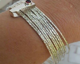 Stackable Silver Bracelet ,Sterling Silver Bangle ,Stacking Bracelet ,Sterling Silver Gems Bracelet ,Garnet Silver Bangle ,Mother's Day Gift