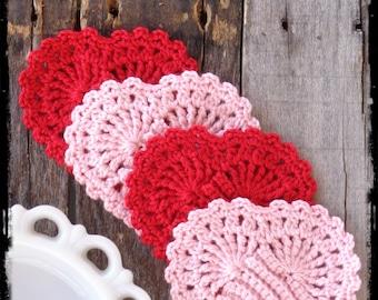 Set of 4 - Heart Coasters, Mug Rug, Candle Mat, Heart Doily, Valentine Decor, Shabby Cottage Chic, Table Centerpiece, OFG FAAP