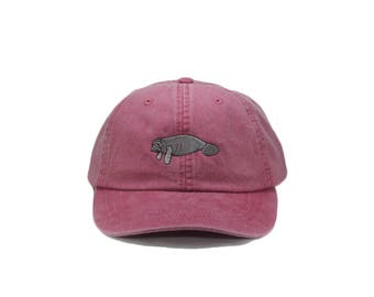 Manatee embroidered hat, baseball cap, dad hat, mom cap, ocean wildlife, manatee lover gift, sea cow, save the manatees