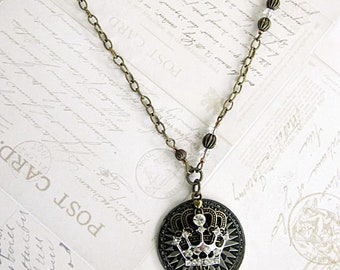 Crown Necklace, Crown Pendant Necklace, Crown Pendant, Rhinestone Crown Necklace, Coin w Crown Necklace, Royal Crown Necklace, Crown Jewelry
