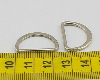 Flat D-Ring 2pk  Silver 20mm