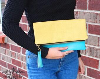 Chartreuse and Aqua faux leather Foldover Clutch / Kindle Case