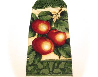 Apples Hand Towel With Green Crocheted Top