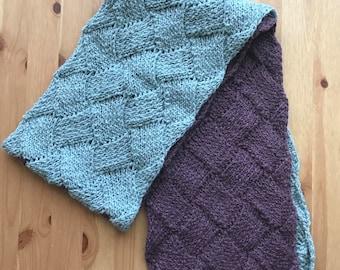 Entrelac scarf, scarf, wool scarf, hand knit scarf, blue scarf, pink scarf