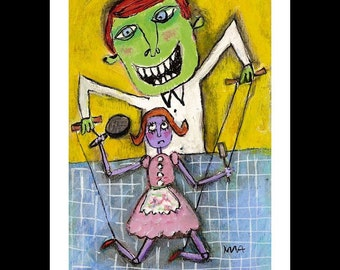 Strings Attached - Art Print, signed & matted, Naive, Funky, Whimsical fine art illustration print by Murphy Adams