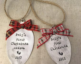Baby's First Christmas Ornament, Stamped Christmas Ornament, Baby Ornament, Custom Christmas Ornament, Personalized Baby Ornament