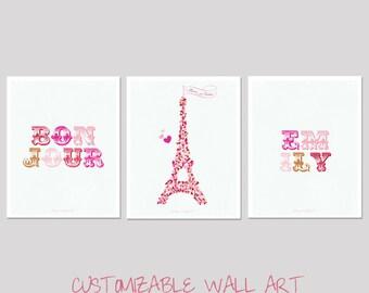 Bonjour - Paris Je t'aime - Art Print - customizable children's room / nursery decor - Eiffel Tower Art  - Love Heart Eiffel Tower Paris