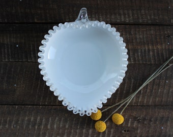 Vintage Silver Crest Fenton Milk Glass Heart Bowl