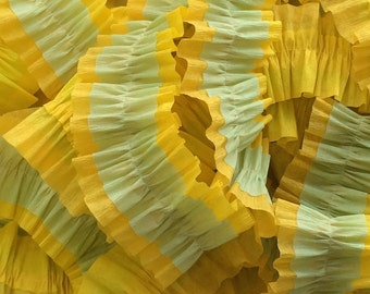 Canary and Gold Yellow and Seafoam Green Ruffled Crepe Paper Streamers - 36 feet - Paper Garland Goods Party Supplies