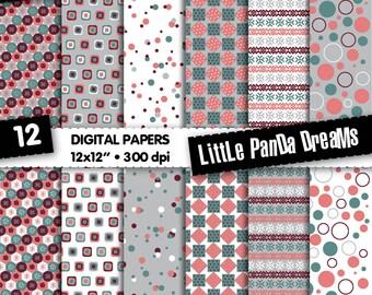 "Digital Papers | Digital Scrapbook Paper Pack | Digital pattern| 12x12"" | 300 dpi | Instant Download | 12 Digital papers"