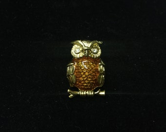 Vintage Brooch, Owl on Branch, Goldtone