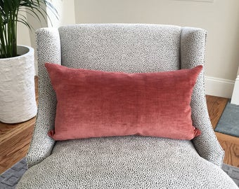 Double sided Scalamandre Rose Velvet blush lumbar pillow cover, designer pillow cover, decorative pillow, cushion, accent pillow