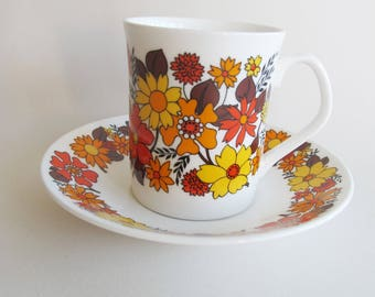 Fantastic Portobello cup and saucer - orange yellow red flower power!