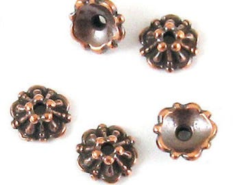 TierraCast Pewter Bead Caps-COPPER TIFFANY 5mm (10)