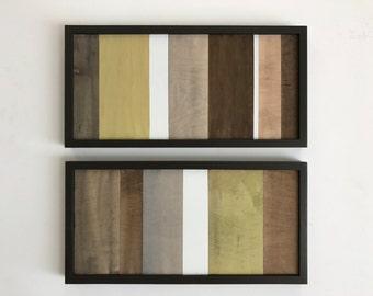 Wood Wall Art - Wood Art - Reclaimed Wood Art - Color Block Collection - 12x24 set