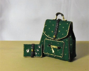Dollhouse Miniature Backpack and Wallet made by Snowflake Miniatures