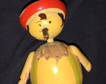 Vintage Wood Man Doll Shaker