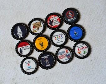 Garden Gnome Bottlecap Magnets- Gnome Decor- Gnome Party- Gnome Kitchen Magnets- Gnome Humor- Fun Magnets- Gnome Gift- Fun Geek Gift