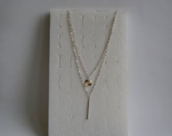 double necklace with 925 sterling silver tube and sequin