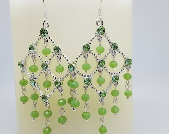Fancy Green Swarovski Chandelier Earrings