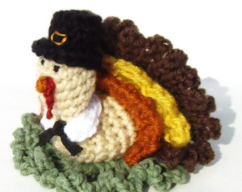 Fall Crochet Pattern - Thanksgiving Crochet Pattern - Crochet Turkey - Crochet Pilgrim - Bath Scrubbie Pattern - PDF INSTANT DOWNLOAD