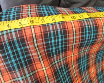 Cotton Gauze Fabric - Orange and Turquoise, yellow plaid, autumn, price per yard, Lightweight, summer fabric, crafts, skirts, peasant blouse